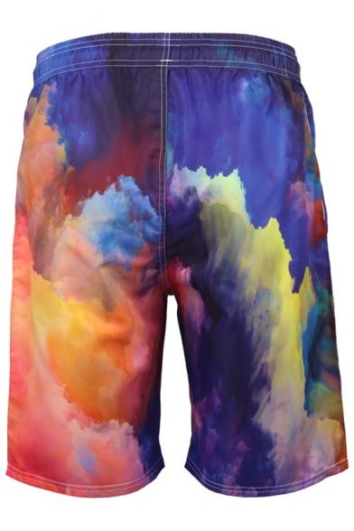 Fashion Quick Dry Tie-Dye Printed Drawstring Waist Mens Beach Relaxed Swim Shorts