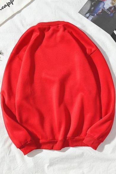 Japanese Style Retro Cartoon Printed Round Neck Long Sleeve Pullover Loose Fit Sweatshirt