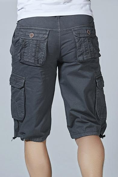 Men's New Stylish Fashion Ribbon Detail Cotton Casual Military Cargo Shorts