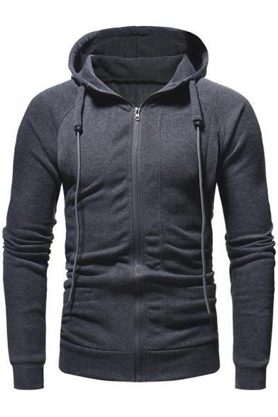 Men's New Trendy Simple Plain Long Sleeve Slim Fit Zip Up Drawstring Hoodie