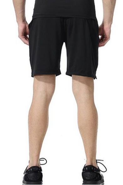 Men's Simple Fashion Reflect Light Checkerboard Quick-Dry Sport Black Soccer Shorts
