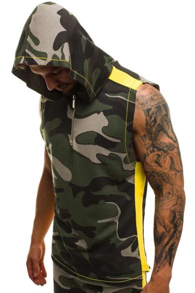 Men's Summer Fashion Camo Printed Half-Zip Front Sleeveless Cotton Fitness Training Hoodie