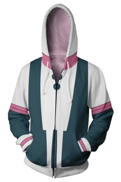 My Hero Academia Cool 3D Colorblock Cosplay Costume Full Zip Fitted White Hoodie