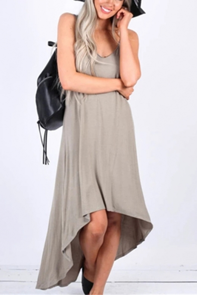 New Trendy Spaghetti Straps Simple Plain Maxi Casual Loose Asymmetrical Slip Dress