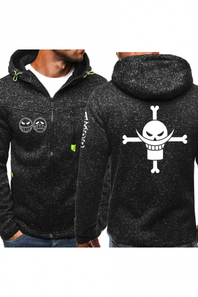 One Piece Comic Printed Men's Heather Color Full Zip Fitted Sport Hoodie