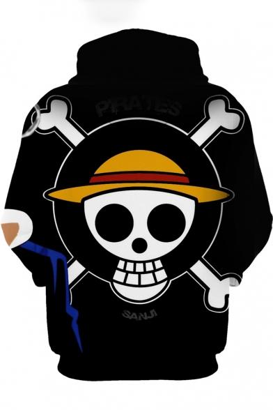 Funny Skull Logo Pattern Casual Loose Pullover Black Hoodie