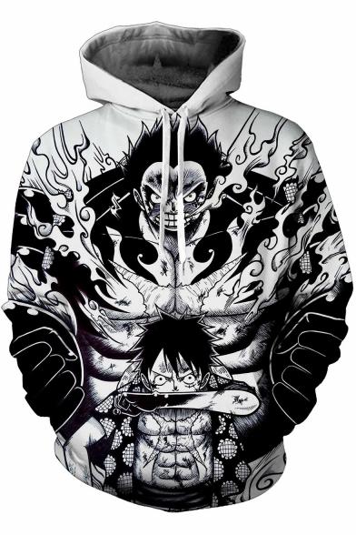 One Piece Trendy 3D Comic Character Pattern Long Sleeve Black Casual Hoodie