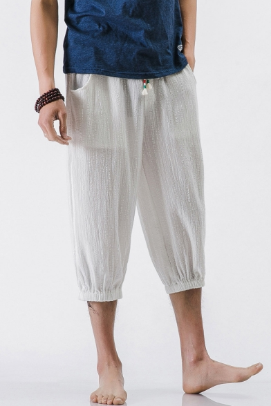 8a73521f8 Retro Chinese Style Summer Beach Simple Plain Cropped Loose Linen Pants for  Men ...