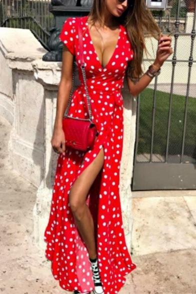 Summer Fashion Classic Polka Dot Printed V-Neck Short Sleeve Tied Waist Split Front Maxi A-Line Dress