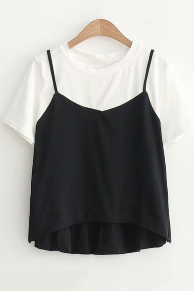 Summer New Stylish Cami Patched Fake Two-Piece Short Sleeve T-Shirt