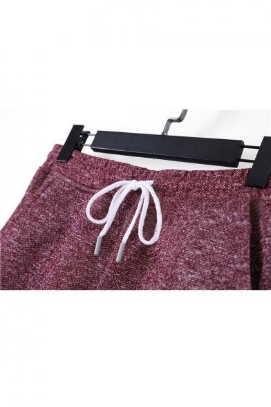 Summer New Stylish Fashion Heather Color Drawstring-Waist Solid Casual Sport Athletic Shorts