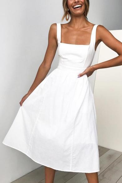 Summer Simple Plain Retro Square Neck Chic Midi A-Line Cami Dress for Women