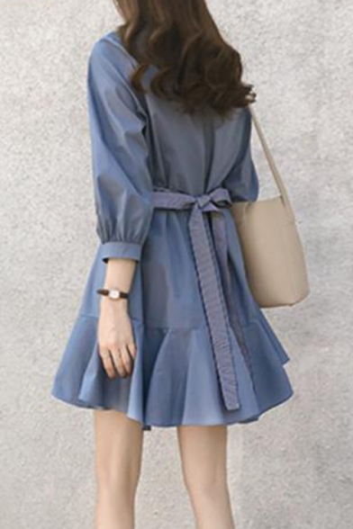 Summer Trendy Plain Round Neck Three-Quarter Sleeve Tied-Waist Ruffled Hem Mini A-Line Dress
