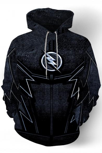 3D Cool Printed Cosplay Costume Long Sleeve Loose Fitted Black Hoodie