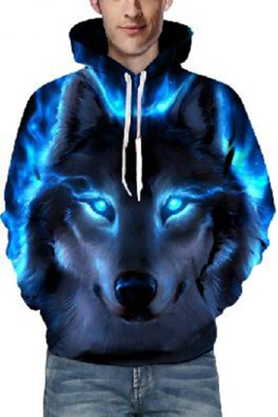 Wolf Blue Fire Printed Long Sleeve Leisure Hoodie