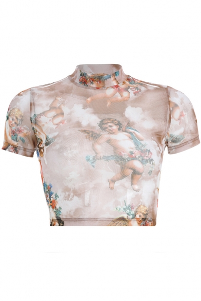 Women's Fashion Angel Baby Printed Mock Neck Short Sleeve Slim Fit Cropped Mesh T-Shirt