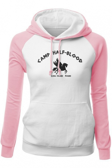CAMP HALF-BLOOD Letter Horse Printed Fashion Colorblock Long Sleeve Fitted Drawstring Hoodie