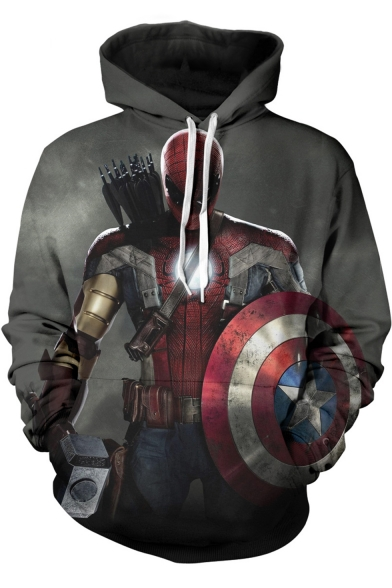 Captain America Iron Man Cool 3D Figure Print Loose Casual Unisex Grey Hoodie
