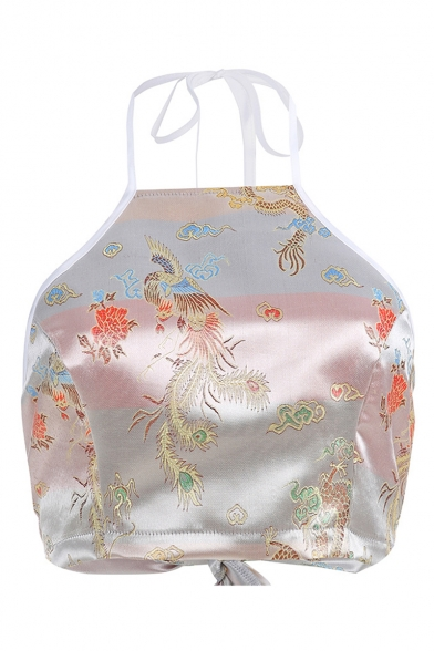 Chic Dragon and Phoenix Embroidered Halter Neck Cropped Silver Cami Top
