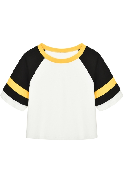 Cool Retro Colorblock Raglan Short Sleeve Cropped White T-Shirt