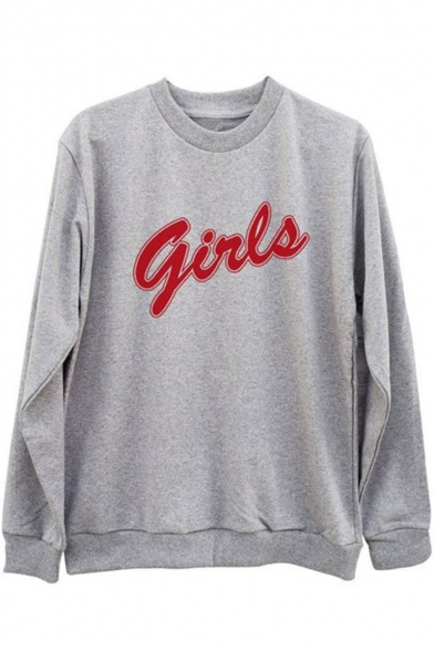Cool Simple Letter GIRLS Printed Cotton Pullover Sweatshirt
