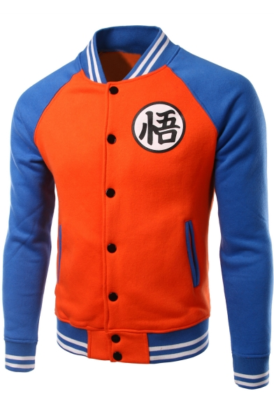 Dragon Ball Fashion Colorblock Rib Collar Stand Collar Button-Down Baseball Jacket