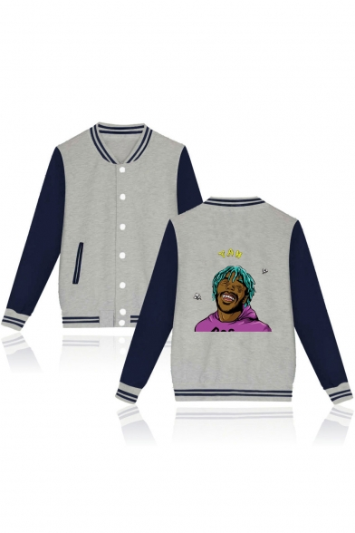 ce7672df40 Funny Figure Print Rib Collar Colorblocked Souvenir Baseball Jacket