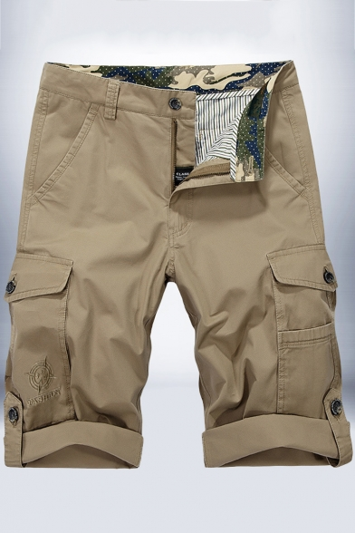 Men's Casual Leisure Fashion Rolled Cuff Military Shorts Cotton Cargo Shorts