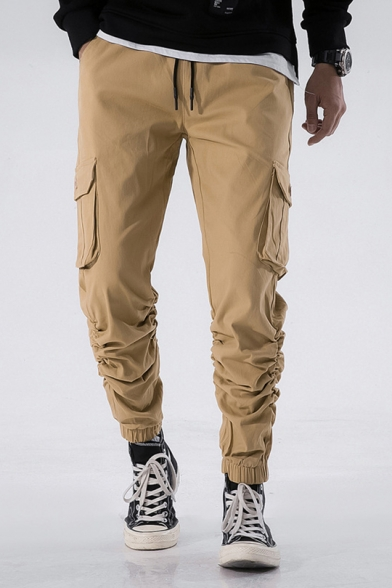 Mens Hot Fashion Drawstring Waist Simple Plain Elastic Cuff Casual Cargo Pants - Beautifulhalo.com