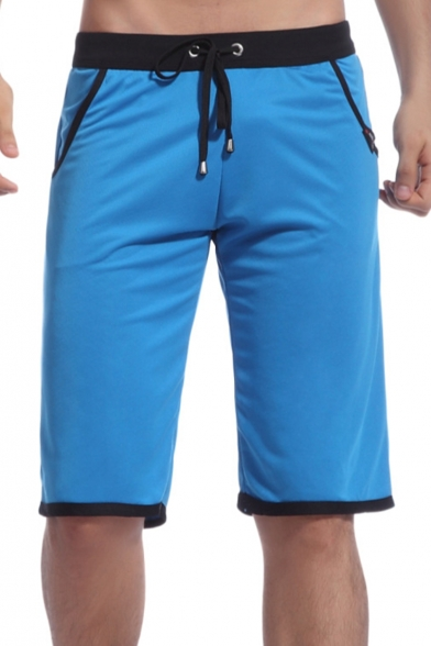 Mens Simple Solid Color Drawstring-Waist Quick-Dry Loose Casual Athletic Active Shorts