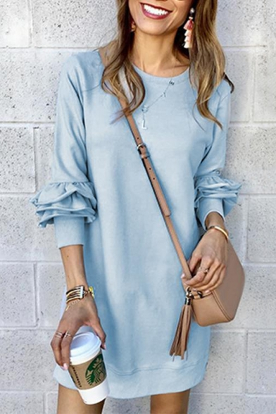 New Stylish Simple Plain Long Sleeve Round Neck Mini Shift Dress for Women