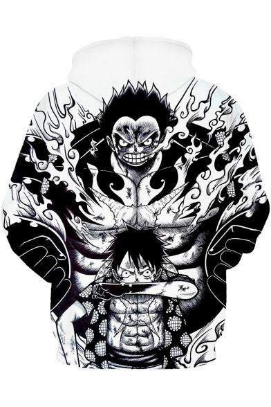Trendy 3D Comic Character Pattern Long Sleeve Black Casual Hoodie