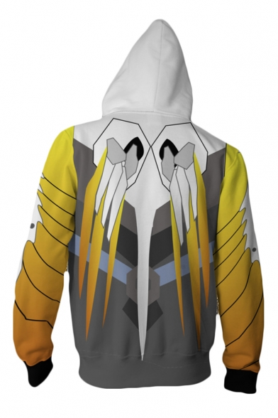 Overwatch Cool 3D Printed Comic Cosplay Costume Full-Zip White Casual Hoodie