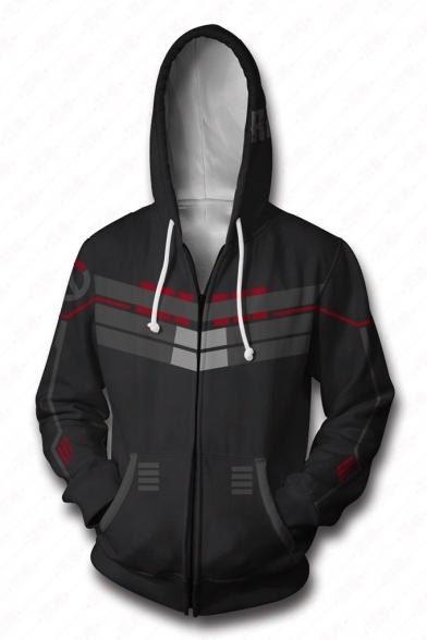 Overwatch Cool 3D Printed Cosplay Costume Zip Up Long Sleeve Fitted Casual Black Hoodie
