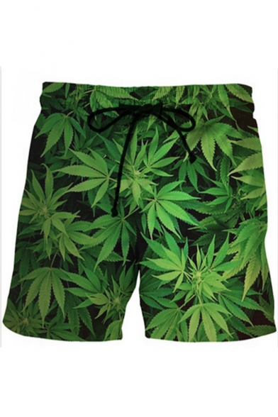 Popular 3D Green Bamboo Leaf Pattern Drawstring Waist Unisex Dry-Fit Relaxed Shorts