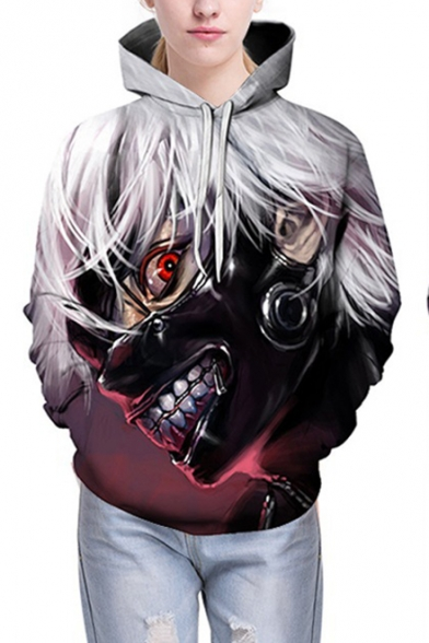 3D Comic Figure Print Basic Long Sleeve Sport Casual Unisex Purple Hoodie
