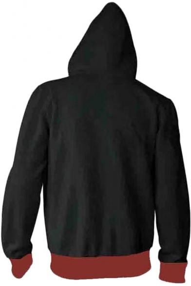 Fashion 3D Printed Casual Sport Long Sleeve Zip Up Black Hoodie