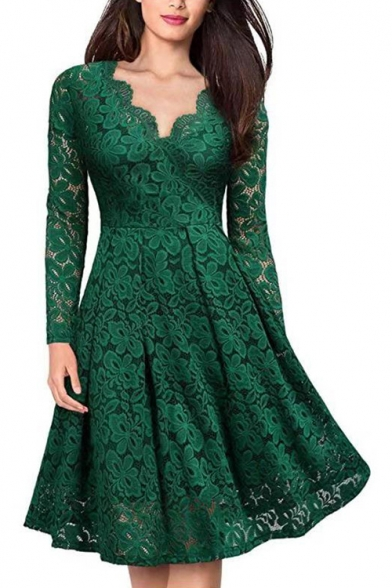 Women's Sexy V-Neck Long Sleeve Solid Color Midi A-Line Lace Dress