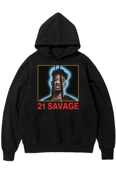 21 Savage Hip Hop Style Figure Printed Basic Long Sleeve Pullover Hoodie