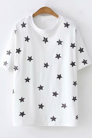 Fashion Allover Sequined Star Embroidered Round Neck Short Sleeve Loose Relaxed T-Shirt