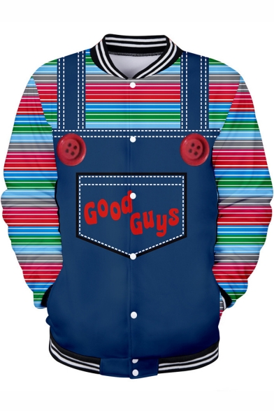 Good Guys Chucky Cool 3D Print Fake Two-Piece Rib Collar Long Sleeve Button-Down Blue Baseball Jacket