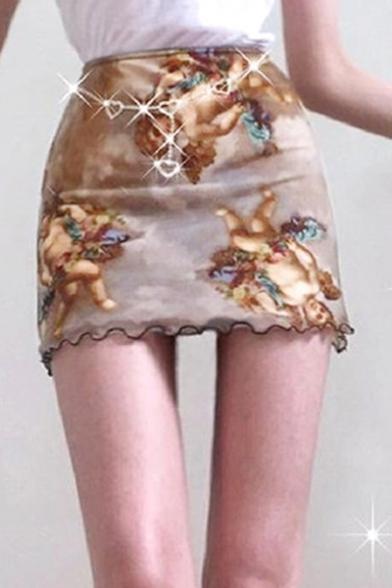 Hot Sale Fashion Angel Baby Printed Mini Sexy Bodycon Brown Skirt