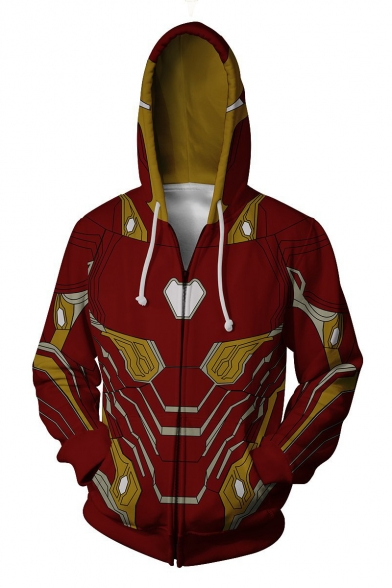 Iron Man Fashion Cosplay Costume Red Zip Up Long Sleeve Loose Fit Drawstring Hoodie