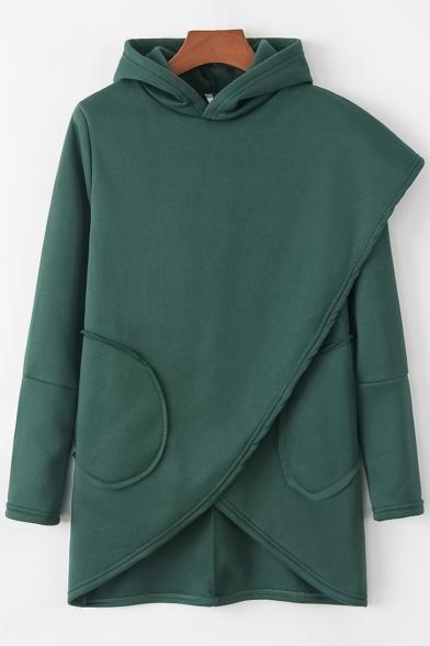 Leisure Plain Asymmetrical Hem Pockets Long Sleeve Casual Hoodie