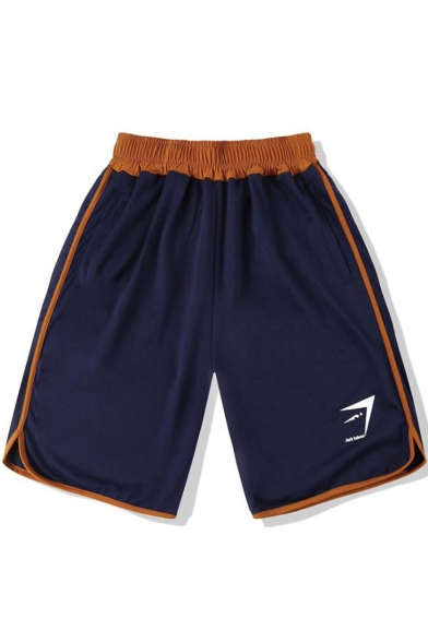 Men's Casual Loose Elastic Waist Contrast Trim Fitness Shorts Sweat Shorts