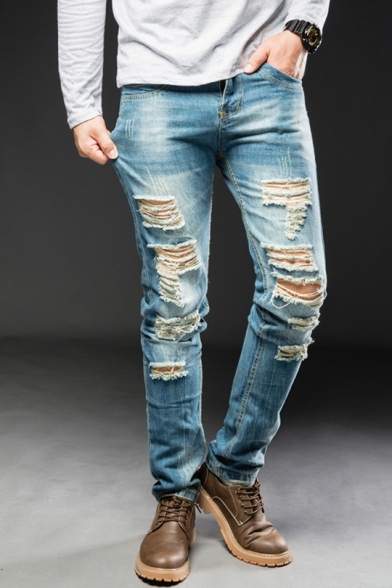 Men's Cool Retro Light Blue Washed Slim Fit Wear Ripped Jeans