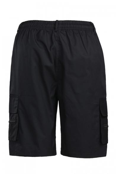 Men's New Stylish Simple Plain Flap Pocket Side Cotton Loose Outdoor Cargo Shorts