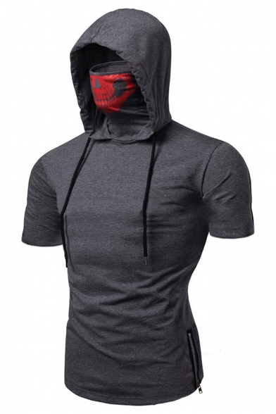 Men's New Stylish Zip Side Plain Short Sleeve Fitness Skull Hooded T-Shirt