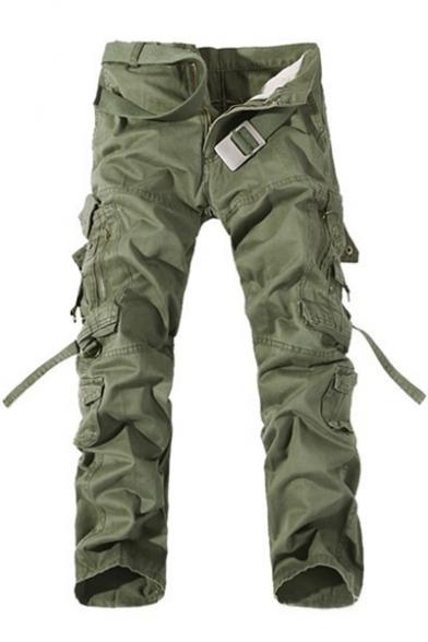 Mens Cool Simple Plain Fashion Ribbon Detail Cotton Utility Pants Cargo Pants