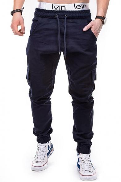 New Stylish Plain Drawstring Waist Flap Pocket Side Elastic Cuff Fitted Cargo Pants